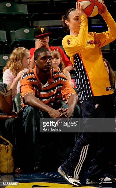 Roy Hibbert the 17th pick of the NBA draft watches the Indiana Fever take on the Connecticut Sun at Conseco Fieldhouse on July 5 2008 in Indianapolis...