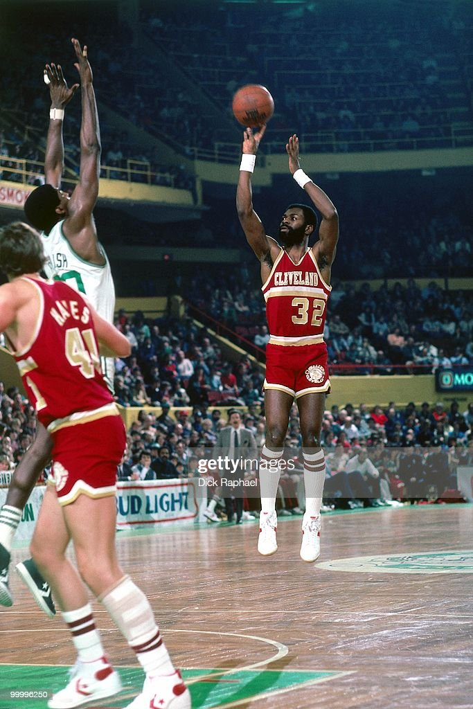 Roy Hinson #32 of the Cleveland Cavaliers shoots a jump shot against the Boston Celtics during a game played in 1983 at the Boston Garden in Boston, Massachusetts.