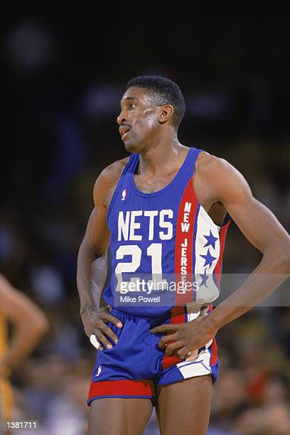 Roy Hinson of the New Jersey Nets stands on the court during the NBA game against the Los Angeles Lakers at the Great Western Forum in Los Angeles...