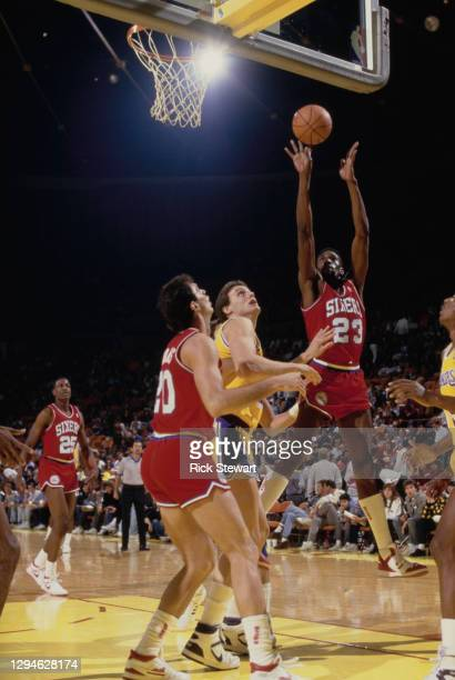 Roy Hinson, Power Forward and Small Forward for the Philadelphia 76ers jumps to shoot for the basket during the NBA Pacific Division basketball game...
