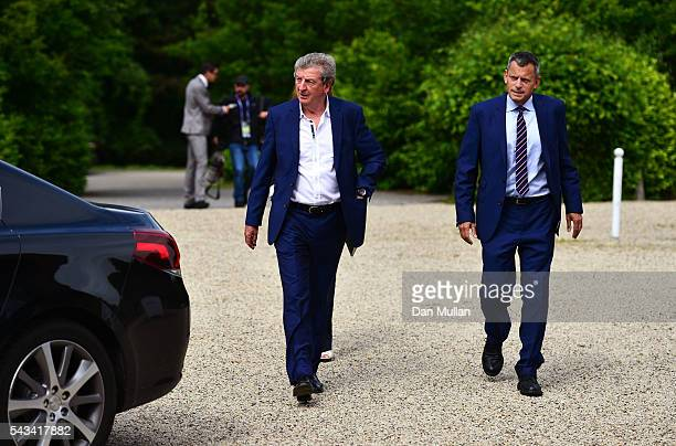 Roy Hodgson and Martin Glenn CEO of the FA arrive for a press conference on June 28 2016 in Chantilly France