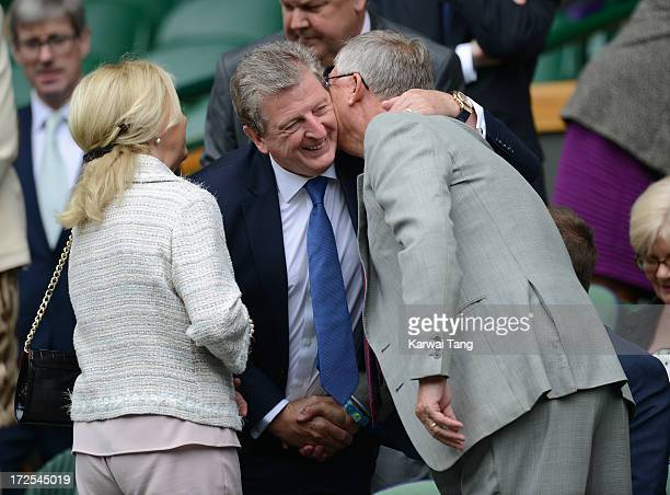 Roy Hodgson and Sir Alex Ferguson attend Day 9 of the Wimbledon Lawn Tennis Championships at the All England Lawn Tennis and Croquet Club on July 3,...