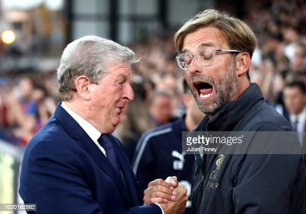 Roy Hodgson Manager of Crystal Palace and Jurgen Klopp Manager of Liverpool shake hands during the Premier League match between Crystal Palace and...