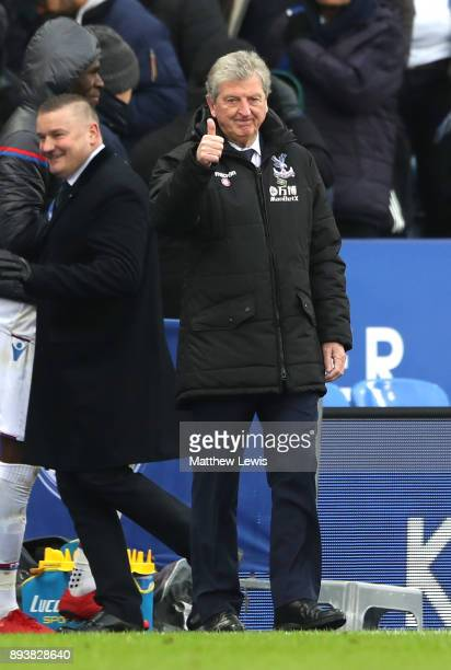 Roy Hodgson Manager of Crystal Palace celebrates his sides third goal during the Premier League match between Leicester City and Crystal Palace at...