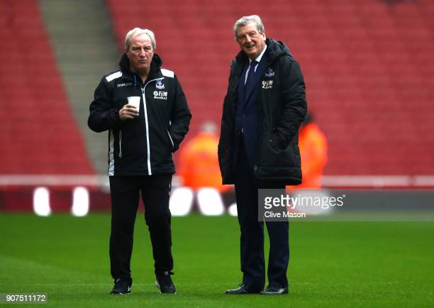 Roy Hodgson Manager of Crystal Palace inspects the pitch prior to the Premier League match between Arsenal and Crystal Palace at Emirates Stadium on...