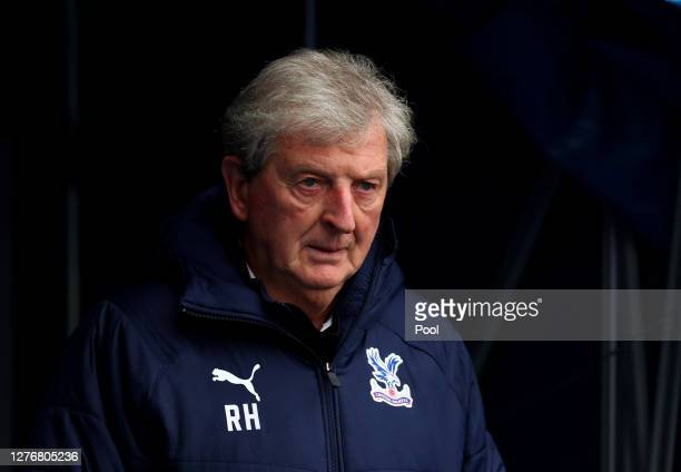 Roy Hodgson, Manager of Crystal Palace looks on during the Premier League match between Crystal Palace and Everton at Selhurst Park on September 26,...