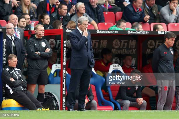 Roy Hodgson Manager of Crystal Palace looks on during the Premier League match between Crystal Palace and Southampton at Selhurst Park on September...