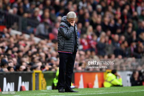 Roy Hodgson Manager of Crystal Palace looks on during the Premier League match between Manchester United and Crystal Palace at Old Trafford on...