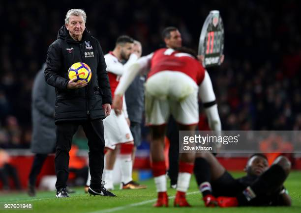 Roy Hodgson Manager of Crystal Palace looks on during the Premier League match between Arsenal and Crystal Palace at Emirates Stadium on January 20...