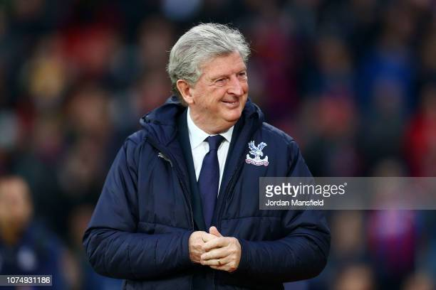 Roy Hodgson, Manager of Crystal Palace looks on prior to the Premier League match between Crystal Palace and Cardiff City at Selhurst Park on...