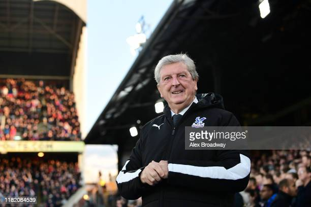Roy Hodgson, Manager of Crystal Palace looks on prior to the Premier League match between Crystal Palace and Manchester City at Selhurst Park on...