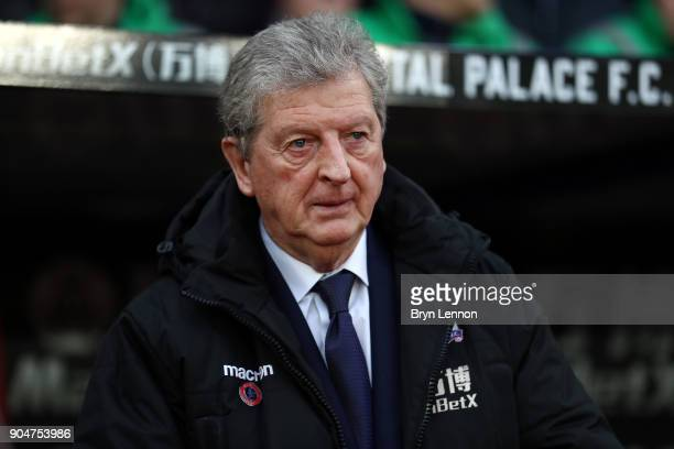 Roy Hodgson Manager of Crystal Palace looks on prior to the Premier League match between Crystal Palace and Burnley at Selhurst Park on January 13...