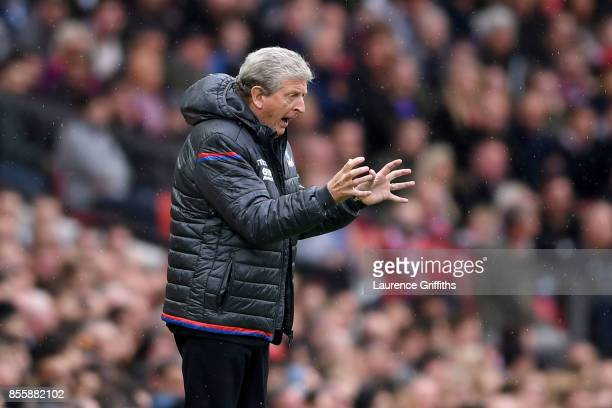 Roy Hodgson, Manager of Crystal Palace reacts during the Premier League match between Manchester United and Crystal Palace at Old Trafford on...
