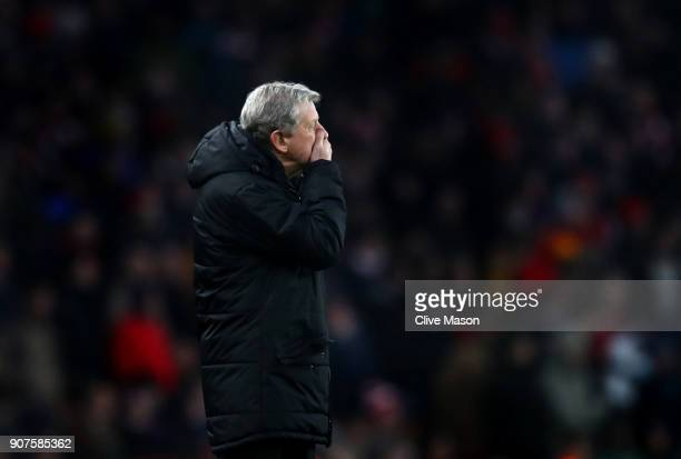 Roy Hodgson Manager of Crystal Palace reacts during the Premier League match between Arsenal and Crystal Palace at Emirates Stadium on January 20...