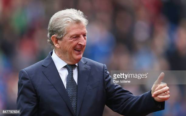 Roy Hodgson, Manager of Crystal Palace shows appreciation to the fans prior to the Premier League match between Crystal Palace and Southampton at...