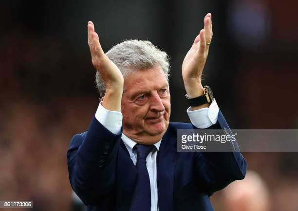 Roy Hodgson, Manager of Crystal Palace shows appreciation to the fans after the Premier League match between Crystal Palace and Chelsea at Selhurst...