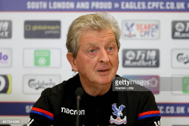Roy Hodgson Manager of Crystal Palace speaks to the media during a Press Conference at the Crystal Palace Training Ground on September 15 2017 in...