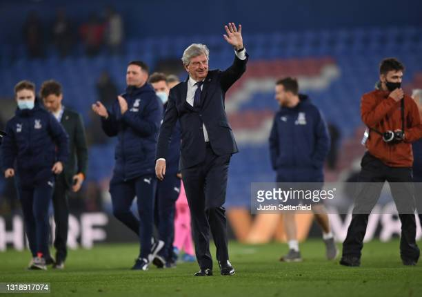 Roy Hodgson, Manager of Crystal Palace waves goodbye to fans after the Premier League match between Crystal Palace and Arsenal at Selhurst Park on...