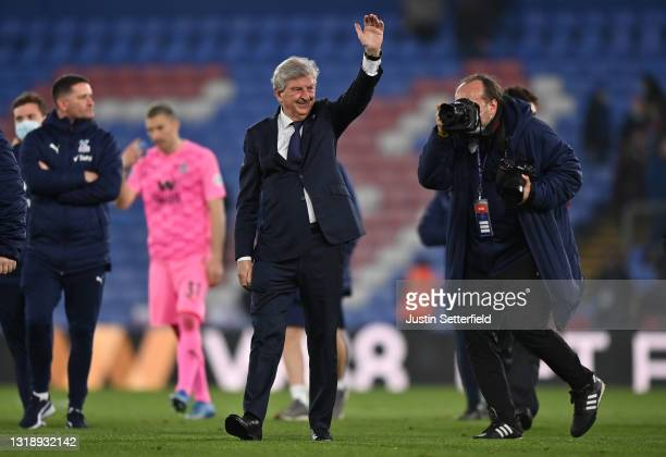 Roy Hodgson, Manager of Crystal Palace waves goodbye to the fans after his last home game as Manager of Crystal Palace during the Premier League...