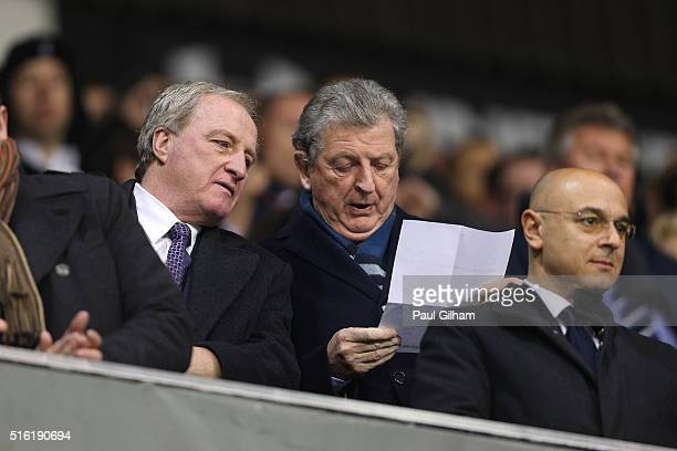 Roy Hodgson manager of England assistant Ray Lewington and Spurs chairman Daniel Levy look on prior to during the UEFA Europa League round of 16...