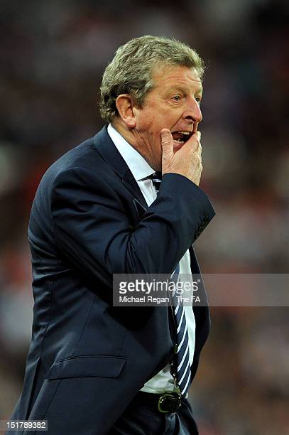 Roy Hodgson, manager of England gives instructions during the FIFA 2014 World Cup qualifier group H match between England and Ukraine at Wembley...