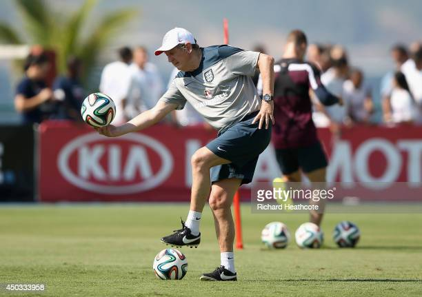 Roy Hodgson manager of England in action during a training session at the Urca military base training ground on June 9 2014 in Rio de Janeiro Brazil