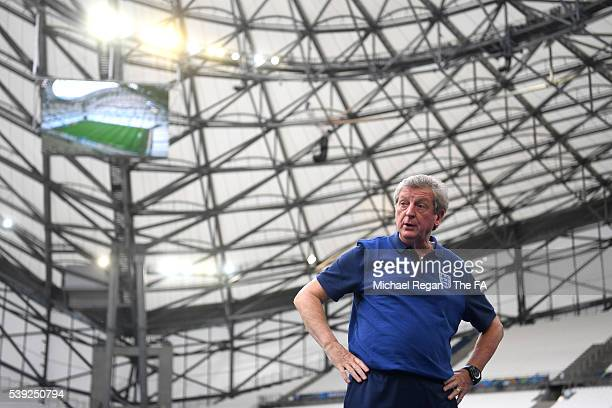 Roy Hodgson manager of England is seen on the eve of the EURO 2016 Group B match between England and Russia at Stade Velodrome on June 10, 2016 in...