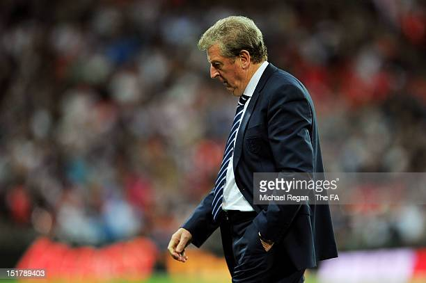 Roy Hodgson, manager of England looks dejected during the FIFA 2014 World Cup qualifier group H match between England and Ukraine at Wembley Stadium...