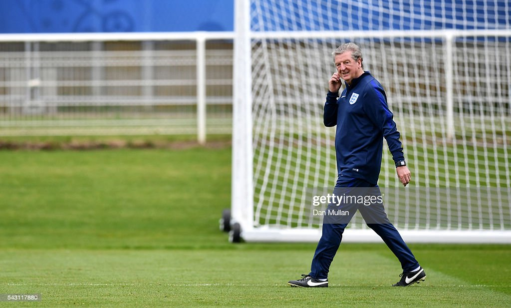 Roy Hodgson, Manager of England looks on during a training session ahead of the UEFA Euro 2016 match against Iceland at Stade du Bourgognes on June 26, 2016 in Chantilly, France.