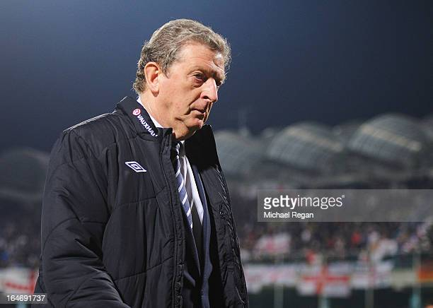 Roy Hodgson manager of England looks thoughtful after the FIFA 2014 World Cup Qualifier Group H match between Montenegro and England at City Stadium...