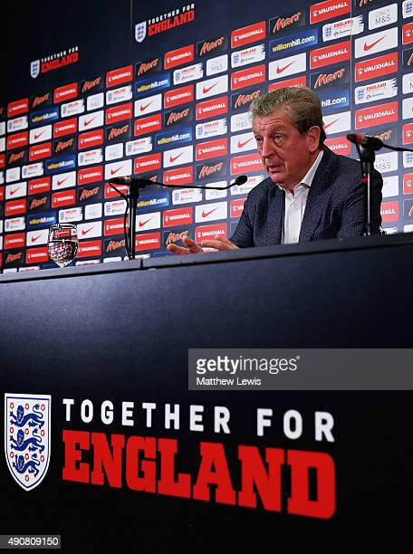 Roy Hodgson manager of England pictured during an England Squad Announcement at Wembley Stadium on October 1 2015 in London England