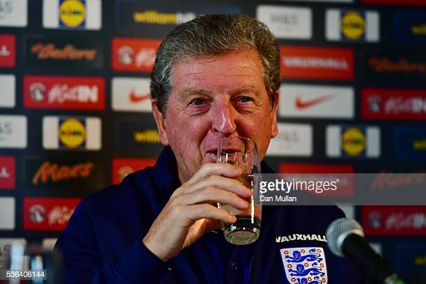 Roy Hodgson Manager of England speaks during an England press conference at The Grove Hotel on June 1 2016 in Watford England
