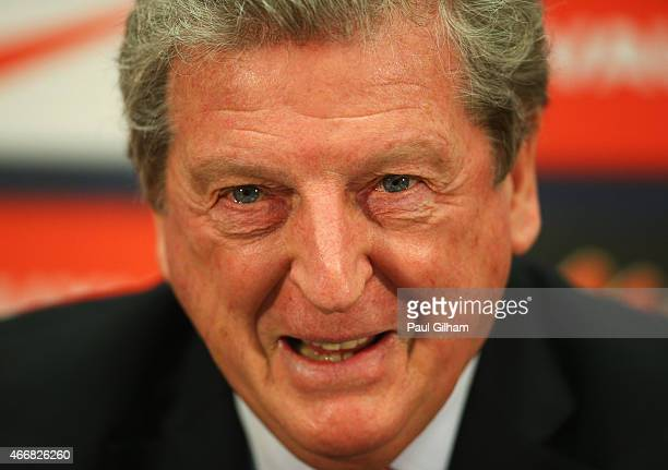 Roy Hodgson manager of England talks to the media during the England squad announcement press conference at Wembley Stadium on March 19 2015 in...