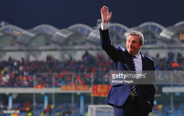 Roy Hodgson manager of England waves prior to the FIFA 2014 World Cup Qualifier Group H match between Montenegro and England at City Stadium on March...