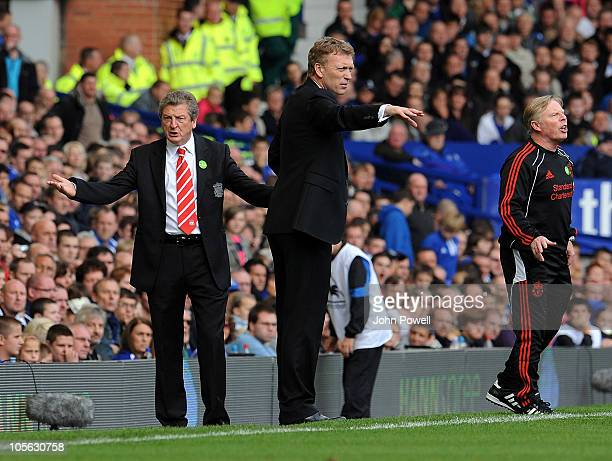 Roy Hodgson manager of Liverpool and David Moyes manager of Everton during the Barclays Premier League match between Everton and Liverpool at...
