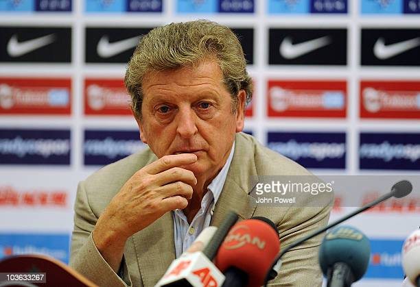 Roy Hodgson manger of Liverpool during a press conference ahead of the UEFA Europa League Play-off match against Trabzonspor at Huseyin Avni Aker...