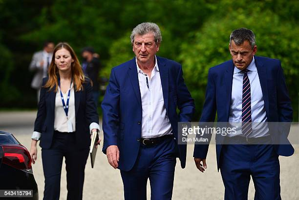 Roy Hodgson Martin Glenn CEO of the FA and Amanda Doherty FA Director of Communications arrive for a press conference on June 28 2016 in Chantilly...