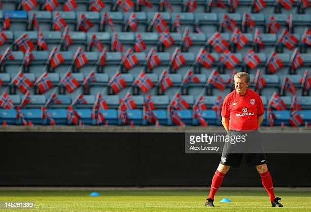 Roy Hodgson the manager of England looks on during the England training session at the Ullevaal Stadion on May 25 2012 in Oslo Norway