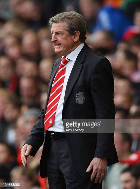 Roy Hodgson the manager of Liverpool reacts during the Barclays Premier League match between Liverpool and Blackpool at Anfield on October 3, 2010 in...