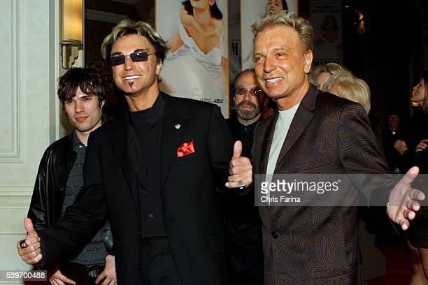 Roy Horn and Siegfried Fischbacher of the Siegfried Roy show attend the opening of Mamma Mia the smash hit musical based on the songs of ABBA at the...
