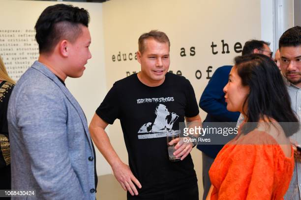 Roy Huang Shepard Fairey and Amanda Fairey attend the National YoungArts Foundation Miami Art Week Supper Club at YoungArts on December 3 2018 in...