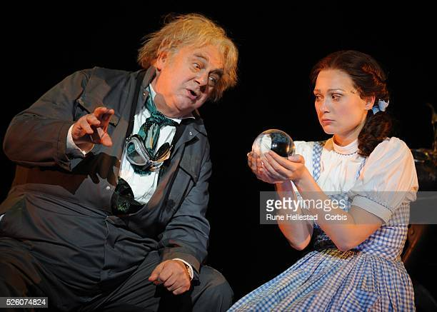 Roy Hudd and Sian Brooke perform in the production The Wizard of Oz directed by Jude Kelly at the Royal Festival Hall in London