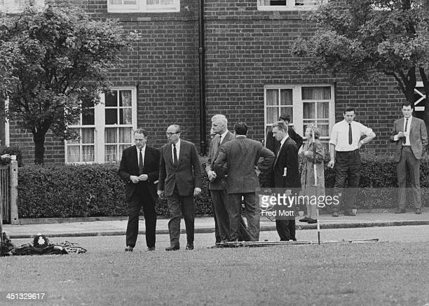 Roy Jenkins attends the crime scene of three murdered police officers in Braybrook Street Shepherd's Bush London 13th August 1966