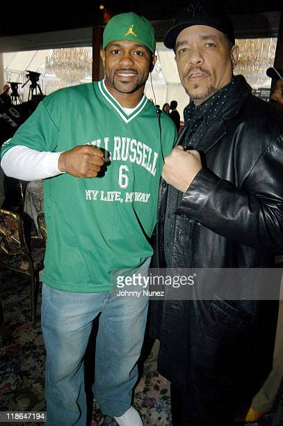 Roy Jones Jr and IceT during Roy Jones JrAntonio Tarver II Press Conference at Tavern On The Green in New York City New York United States