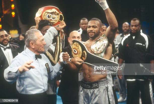 Roy Jones Jr. Celebrates after he defeated David Telesco for the WBA, WBC and IBF light heavyweight titles on January 15, 2000 at the Radio City...