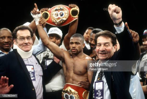 Roy Jones Jr. Celebrates after he defeated James Toney for the IBF super middleweight titles on November 18, 1994 at the MGM Grand Garden Arena in...