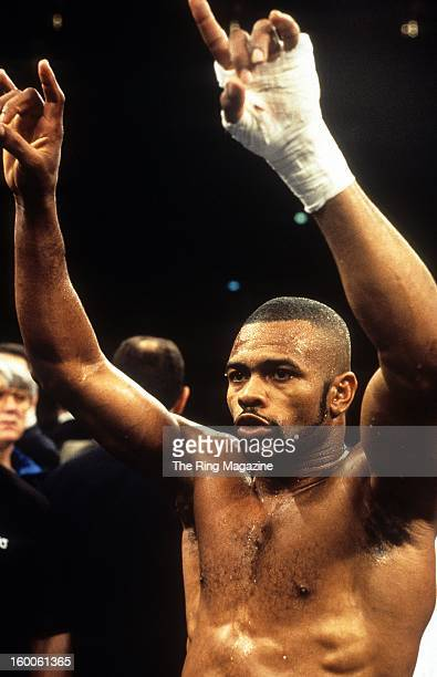 Roy Jones Jr celebrates in the ring after winning the fight against Merqui Sosa at Madison Square Garden in New York New York Roy Jones Jr won by a...