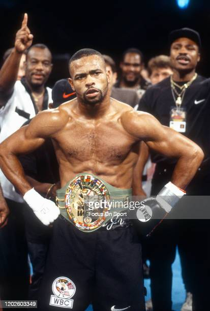 Roy Jones Jr. Celebrates wearing the belt after he defeated Montell Griffin for the WBC light heavyweight title on August 7, 1997 at the Foxwoods...