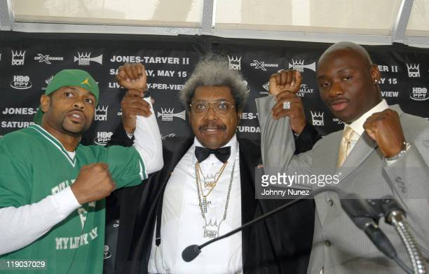 Roy Jones Jr Don King and Antonio Tarver during Roy Jones JrAntonio Tarver II Press Conference at Tavern On The Green in New York City New York...