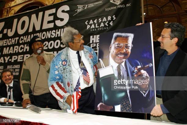 Roy Jones Jr Don King and Mark Taffet